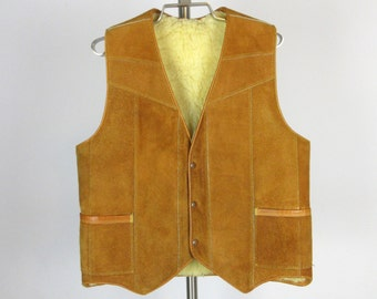 Vintage Mens Leather / Suede and Shearling Western Vest, Sz 44