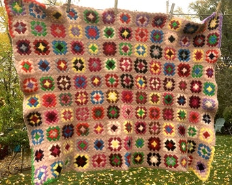 Vintage Granny Square Crocheted Afghan, Pale Pink with Colorful Blocks, Aged, Felted