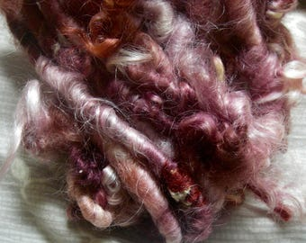 Handspun Corespun Cotswold Art Yarn with Mohair Locks in Red Wine Pink Curls and Gold Sparkle by KnoxFarmFiber for Knit Weave Embellishment