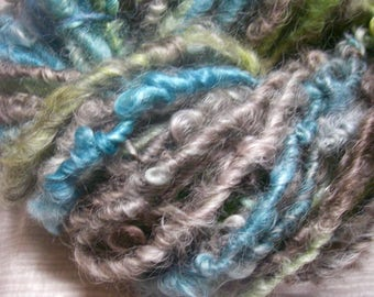 Handspun Hand Dyed Curly Textured Lincoln Longwool Bulky Art Yarn in Colors of Mushroom Blue and Green by KnoxFarmFiber for Knit Felt Weave