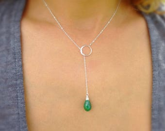 Emerald Y necklace, lariat, sterling silver, may birthstone, gemstone necklace, natural stone, emerald green, spiritual healing stone
