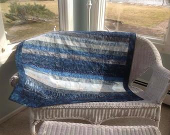 Blue batik quilt lap throw blanket indigo beach life watercolor sea nursery crib quilt blue ombre