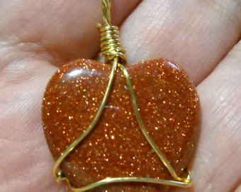 Goldstone Heart Amulet Crystal Healing