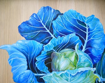 "Blue Cabbage Print, Home Decor, Farmhouse Style, Kitchen Art, Kitchen Print, Floral Art 8""x10"""