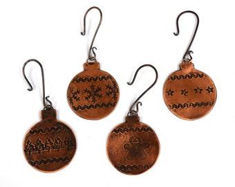 Gingerbread Ornament, Christmas Tree Ornament, Rustic Copper Ornament with Handmade Ornament Hook, Christmas Bulb, Handmade Holidays