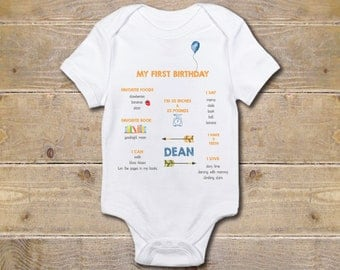 First Birthday Onesie, Milestones, First Birthday Stats, Boy, One Onesie, First Birthday Shirt, 1st Birthday Outfit, Party Shirt, One Shirt