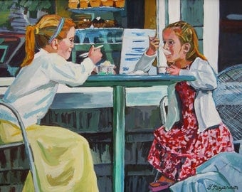 Painting of Girls at Ice Cream Parlor, Ice Cream Sundae, Kids Room Idea Wall Decor Children Kids Decor Gwen Meyerson