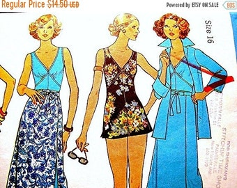 SALE 25% Off 1970s Bathing Suit Pattern Misses size 16 Bust 38 UNCUT One Piece Skirt Swimsuit, Wrap Skirt, Coverup Vintage Sewing Pattern