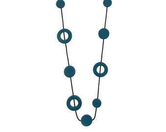 teal green necklace, designer fashion jewellery, unique womens gift