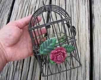 Metal Birdcage Candle Holder with Rose and Leaves Birdcage Lantern Votive Candle Holder Tea Light Holder
