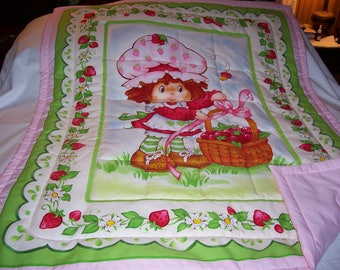 Handmade Baby Strawberry Shortcake Cotton Flannel Baby/Toddler Quilt-Newly Made 2017