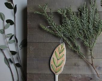 Christmas ornament, leaf ornament, hand drawn ornament, orange and green leaf home decor