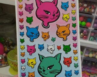 Big Sheet of 78 Winking Cat Stickers