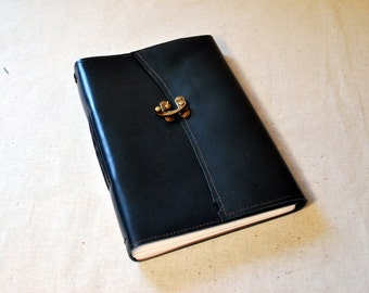 Deep Blue Leather Latch Journal with Recycled Paper-Large