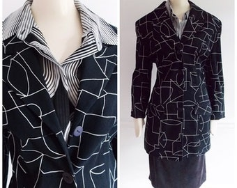 European 1980s black and white blazer jacket / 80s modernist abstract design jacket