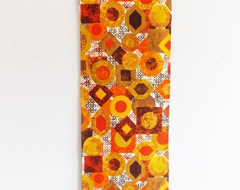 SPECIAL OFFER-European 1960s orange wall tapestry / 1970s textile wall hanging / mid century wall art/ table cloth