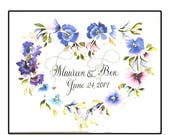 Unique Personalized Wedding Card with hand calligraphy and watercolor flowers