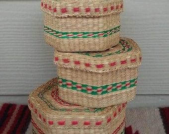 Vintage Woven Nesting Baskets Trio