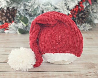 6 to 12 month Santa hat // Christmas hat // holiday photo prop // baby photography // baby hat // up cycle // ready to ship // stocking