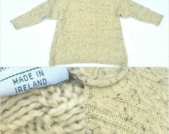 Vintage Irish Flecked Wool Aran Sweater // Classic // XL Unisex