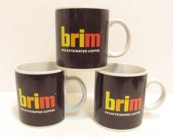 Vintage Brim Coffee Cups,  3 Decaf Coffee Mugs, Advertising Logo