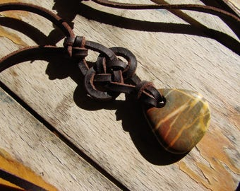 Touch Stone Smoothie with Celtic Knot in Leather -- Necklace -- Jasper