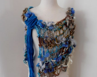 Scarf  bulky textured art yarn Hand Spun Hand Knit Scarf teal blue brown cream merino mix