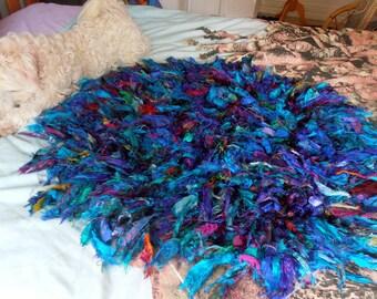 READY to SHIP silk rug recycled silk rag rug mat multicolour silk crocheted mat tattered boho mat rug purple blue