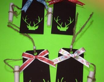 Set Of 4 Reindeer Antlers Chalkboard Christmas Ornaments Gift Tags