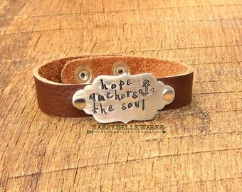 Hope Anchors the Soul Leather Bracelet positive inspirational saying phrase quote black brown hand stamped brushed aluminum adjustable