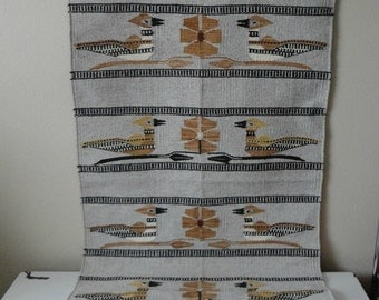 VINTAGE woven wool mexican BIRD RUG