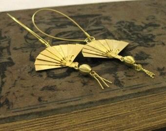 FOLDING FAN EARRINGS Gold Southern belle oriental earrings asian jewlery oriental style folded fan earrings handmade miniature bird earrings
