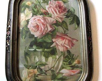 Pink Roses, Art Print, Half Yard Long, Antique Barbola Frame, Convex Glass