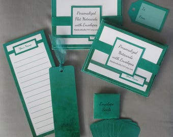 Personalized Stationery Set with Folded and Flat Notecards, 12 Envelopes/Seals, Bookmark, 24 Sheet Notepad, Gift Tag - Your choice of color