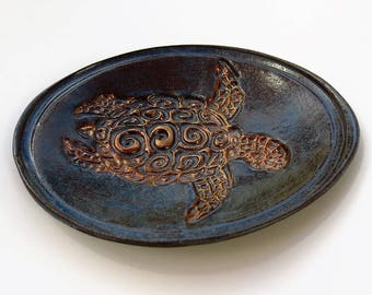 Golden Turtle Dish Tortoise Lovers Soap Dish Catchall Trinket Holder Ceramic Pottery