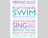 MERMAID RULES Quote Mermaid Bedroom Decor Mermaid Wall Art Girl Bedroom Decor Mermaid Bathroom Decor Mermaid Art Print - Choose Your Colors