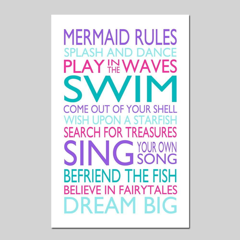 Mermaid rules quote mermaid bedroom decor mermaid wall art