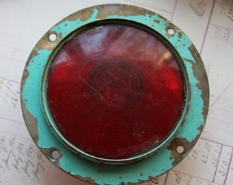 Vintage Stratolite TURQUOISE GREEN Chipping Paint- Vintage Red Recessed Light- Salvaged Found Object- L09