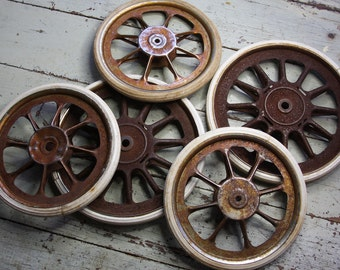 Vintage Baby BUGGY WHEELS- Wagon Wheels- Metal Spoke Carriage Wheels with Rusted Worn Patina- Cart Wheel- Industrial Decor- M18
