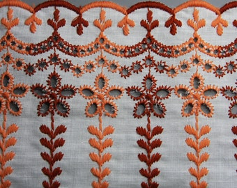 Vintage Trim- Sewing Notions- Red & Orange Floral FABRIC TRIM- Wide Cotton Retro Style