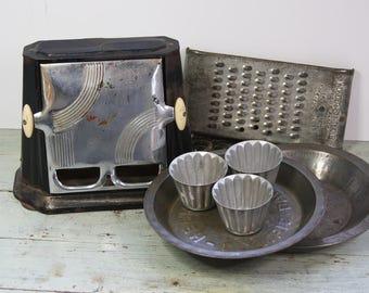 Primitive Lot- Farmhouse Decor- Vintage Sun Chief Toaster- Wonder Shredder- Pie Plates Baking- Tin Cups- Vintage Kitchen Decor