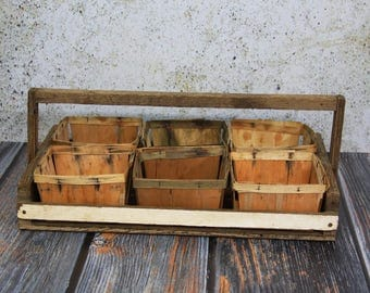 Vintage WOODEN BERRY CARRIER with Baskets- Berry Picking Crate- Primitive Carrier- Wood Berry Box- Strawberry Bin Rustic Decor- Farmhouse