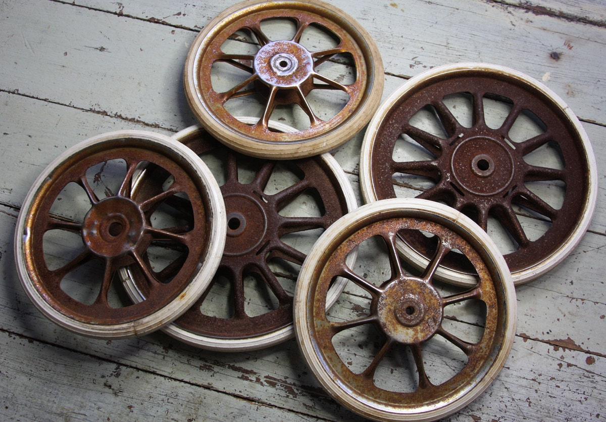 Vintage Baby Buggy Wheels Wagon Wheels Metal Spoke Carriage