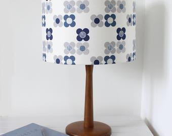 STUDIO SALE Mod Flower Blue Lampshade Scandi Fabric Drum Lamp Shade