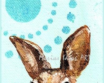 Bunny art, Rabbit art, modern bunny, blue bunny, nursery wall art, Rabbit print, bunny print, Marias Ideas