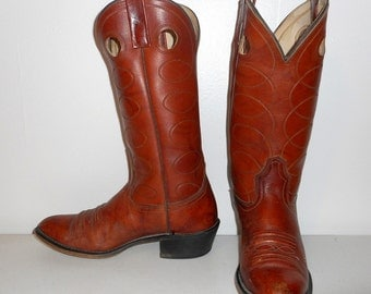 Mens 7.5 D Cowboy Boots Vintage Acme Brown Western Wear Country Shoes Womens 9