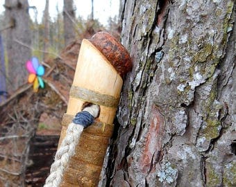 Stone topped Walking Stick, Tall Wood Hiking Stick, Wooden Staff with Natural finish and Bark Wrap, statement piece
