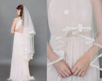 SALE Crochet Lace Veil, Bridal Veil, Embroidered Crochet Lace Veil, Lace Flower Applique, Bridal Veil, Wedding Veil, Finger Tip Veil 1719