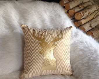 Metallic Gold Pillow, Metallic Home Decor, Christmas Pillow, Metallic Pillows, Metallic Gold Decorative Pillow, Deer Antler Pillow