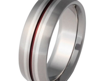 Silver Titanium Wedding Ring with Red Stripes - Silver and Red Band - sv4Red